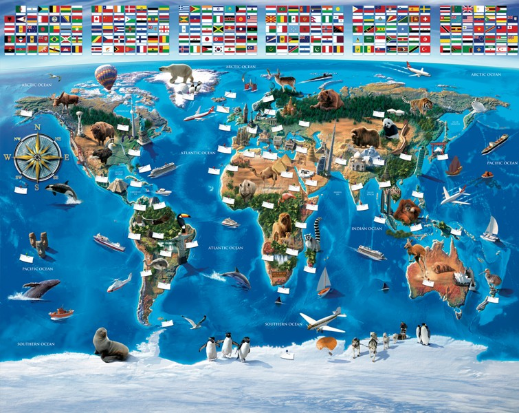 Mapa Světa fototapeta